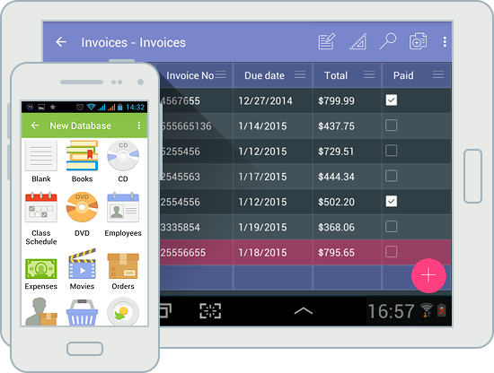 Android database app in material design